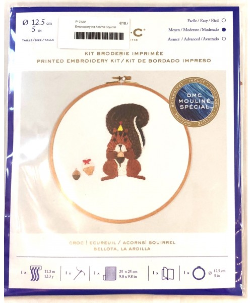 DMC Embroidery Kit Acorns Squirrel